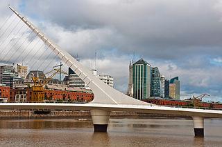Puente de la Mujer pedestrian bridge in Argentina