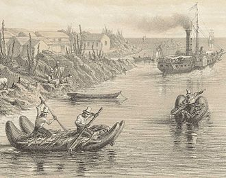 Chango people - Chango rafts in the Chilean port of Huasco in the 1850s