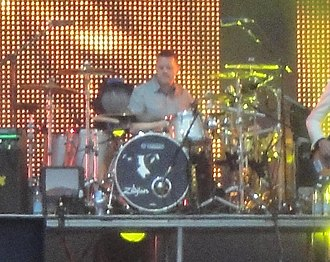 Nick Banks - Banks on stage with Pulp, at the 2011 Isle of Wight Festival