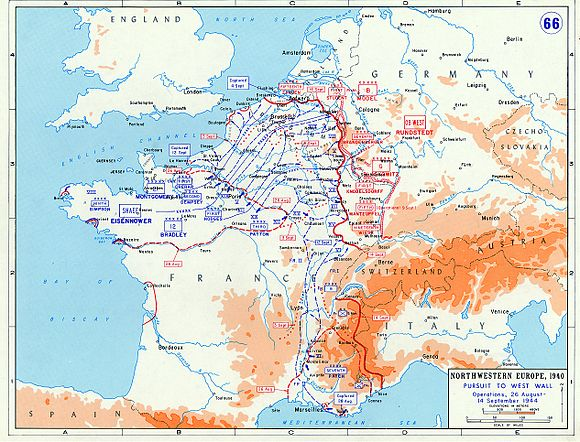 The advance of Allied forces between 26 August and 14 September 1944 Pursuit to the West Wall 1944.jpg