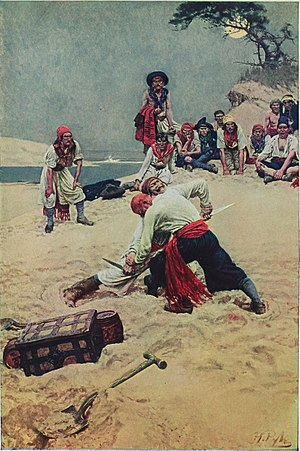 Pirates fight over treasure in a Howard Pyle illustration from Howard Pyle's Book of Pirates.