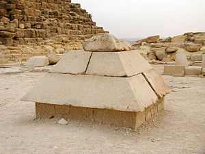 Benben - Reconstructed capstone from one of the pyramids of the Giza Plateau, symbolizing Benben.
