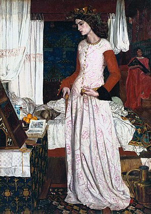 William Morris - Morris's painting La belle Iseult, also inaccurately called Queen Guinevere, is his only surviving easel painting, now in the Tate Gallery, 1858.