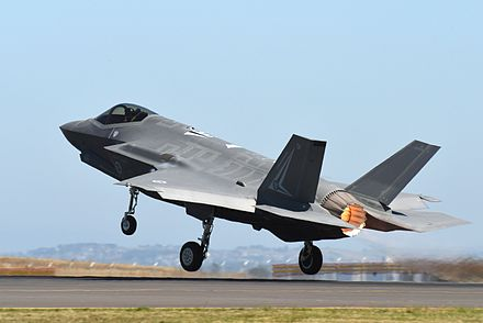 The Australian Government intends to buy at least 72 F-35A Lightning II aircraft to re-equip the RAAF's air combat force RAAF F-35 taking off during the Australian International Airshow and Aerospace & Defence Exposition 2017.jpg