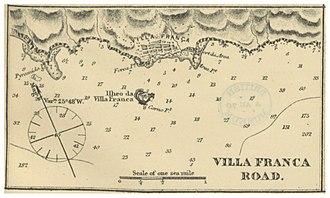1522 Vila Franca earthquake - A map of Vila Franca do Campo, the former provincial capital of São Miguel