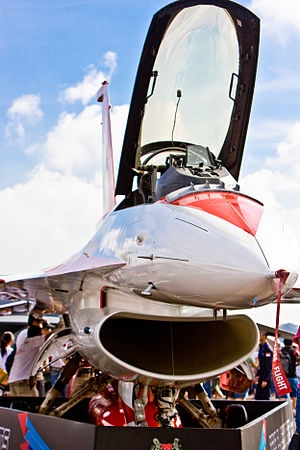 RSAF Black Knights - Closeup of a RSAF Black Knight F-16 on static display.