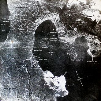 No. 25 Squadron RNZAF - Aerial view of Rabaul area showing location of Lakunai airstrip and known AAA sites