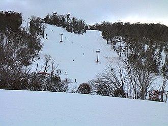 Selwyn Snowfields - View to Racecourse Run from Kangaroo Ridge.