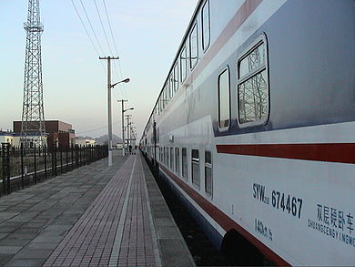 A double-deck conventional passenger sleeping car of China in April 2006 Railroad passenger car of China.jpg