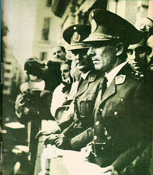 1943 Argentine coup d'état - Generals Arturo Rawson and Pedro Pablo Ramírez greet a crowd at Plaza de Mayo on the day of the coup, June 4, 1943.