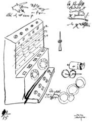 Original drawing of the calculating machine by Wilhelm Schickard