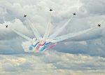 Red Arrows aerobatic team over RAF Marham in July 2015.jpg