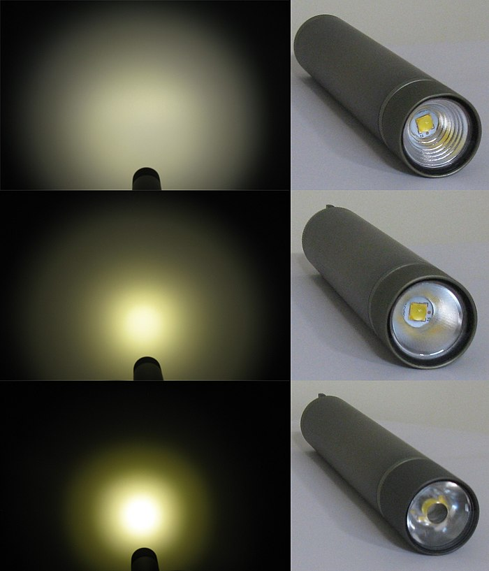 Dive flashlight with different reflectors and collimator for LED XHP70.2 Reflectors.jpg