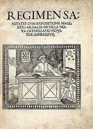 Regimen sanitatis Salernitanum - First edition title page (1480). The title reads: Regimen sanitatis cum expositione magistri Arnaldi de Villanova Cathellano noviter impressus. Venetiis: impressum per Bernardinum Venetum de Vitalibus, 1480.