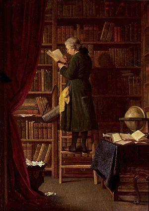 Librarian - Enlightenment era librarian in a library, 19th-century painting by Georg Reimer, National Museum in Warsaw