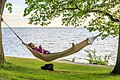 Relaxing in the hammock by the sea near Almedalen.jpg