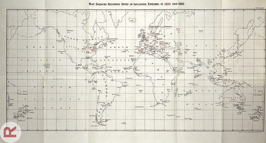 A line map of the world, with dates in red (1889) and blue (1890) indicating when the influenza pandemic arrived in various cities.