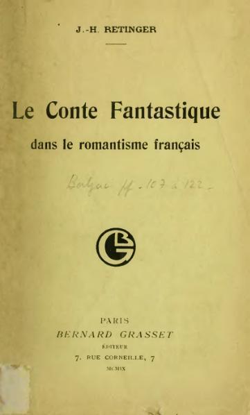 File:Retinger - Le Conte fantastique dans le romantisme français, 1909.djvu