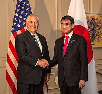 Tarō Kōno - Kōno with US Secretary of State Rex Tillerson in January 2018