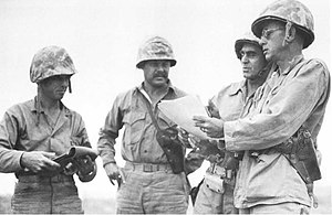 Arthur T. Mason -  Captain Richard Boyd, Lt.col. James C. Magee Jr. (2nd Battalion, 1st Marines), Major general Pedro del Valle (Commander 1st Marine Division) and Arthur T. Mason (1st Marine Regiment) during Okinawa campaign in May 1945.