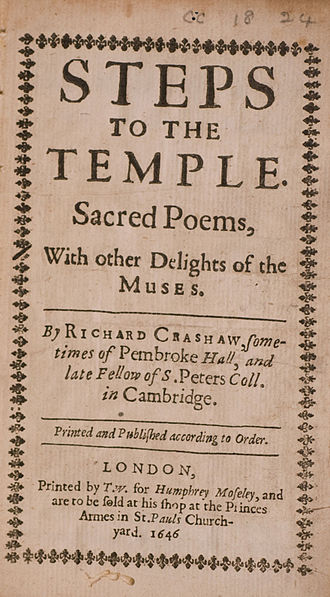 Richard Crashaw - Title page of Crashaw's Steps to the Temple (1646) which was published during Crashaw's exile