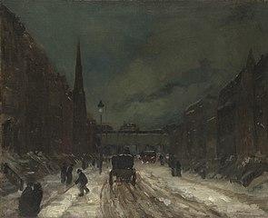 Street Scene with Snow (57th Street, NYC.)