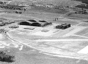 Aerial view of Robins Air Depot aircraft hanga...