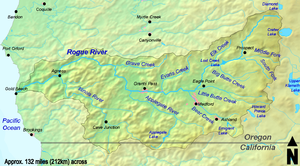 The Rogue River flows from near Crater Lake in Oregon to the Pacific Ocean at Gold Beach. A small part of its watershed extends into northern California.