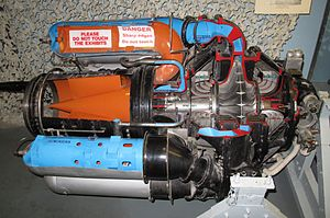 Rolls-Royce Welland - An example of the engine with parts cut away to show its workings