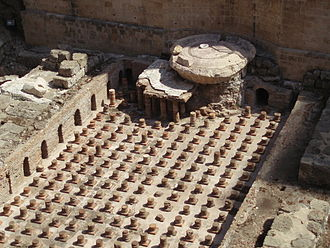 Archaeological tourism - Ruins of an ancient Roman bathhouse in Beirut Central District (Lebanon)