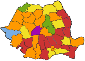 Romanian local elections, 2004 - Image: Romania county capital map