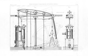 Benjamin Hick - Technical drawing of a balance and low pressure steam engine by Rothwell, Hick and Rothwell with architectural details in the Doric order. Traité Théorique et pratique des moteurs a vapeur, Jacques-Eugène Armengaud 1862.