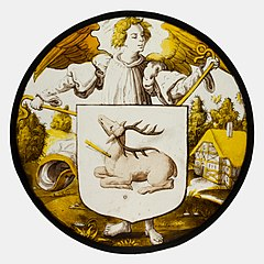 Roundel with Angel Supporting a Heraldic Shield