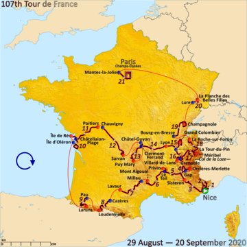 Map of France with the route of the 2020 Tour de France