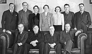 Henry Angus - The members of the Rowell-Sirois Commission in 1938. Seated, left, H. F. Angus.