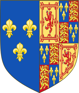 Mary's arms as Queen of Scotland and France, with the arms of England added, used in France before the Treaty of Edinburgh, 1560 Royal Arms of Mary, Queen of Scots, France & England.PNG