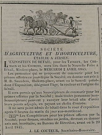 Royal Jersey Agricultural and Horticultural Society - From its early years the Society organised cattle shows and competitions among growers and breeders, as shown in this advertisement of 1845