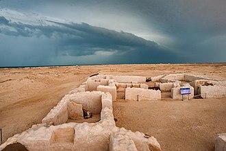 Zubarah - Ruins in Zubarah on a cloudy day.