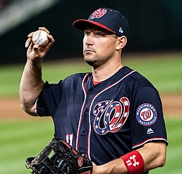 Ryan Zimmerman throws a ball into the crowd at the end of an inning, Washington Nationals (41450084601) (cropped).jpg