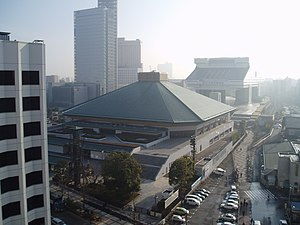 Ryōgoku Kokugikan, view from the West with the Edo-Tokyo Museum in the background