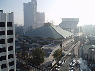 Ryōgoku Kokugikan - Ryōgoku Kokugikan, view from the West with the Edo-Tokyo Museum in the background