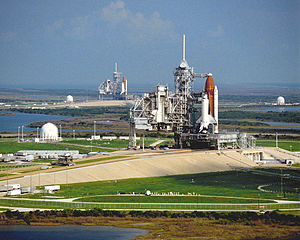 STS-35 - Columbia on Pad 39A with Discovery on 39B in the distance.