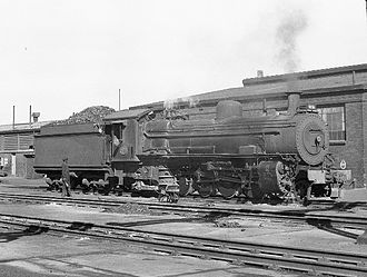 South African Class 11 2-8-2 - Class 11 no. 933, ex CSAR no. 721, Sydenham, 1973