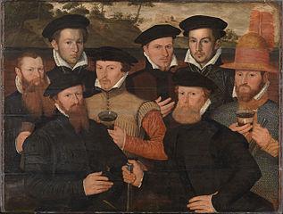 Amsterdam militia meal with 8 men