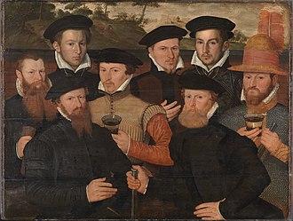 Barend Dircksz - Image: SA 7305 Schuttersmaaltijd met acht figuren