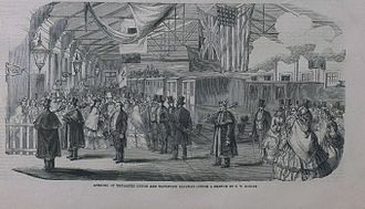 South Devon and Tavistock Railway - Opening ceremony of South Devon and Tavistock Railway in 1859; the US flag has only thirty stars; this was superseded in 1851, and by this date the correct flag had 32.