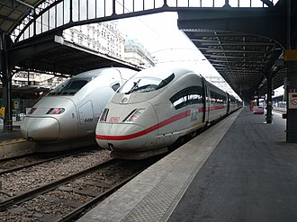DB Fernverkehr - TGV POS 4406 and an ICE 3M at Paris-Est station.