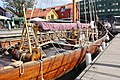 Saga Farmann Klåstadskipet viking ship replica built 2018 mast yard sail shroud Tønsberg harbour havn brygge pier board walk dock brygga Oseberg kulturhus Quality hotel etc Norway 2019-08-16 04261.jpg
