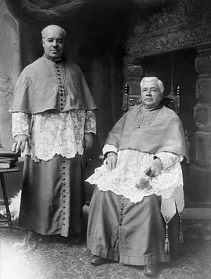 Placide Louis Chapelle - Archbishop Placide Chapelle (standing, left) and Archbishop Jean-Baptiste Salpointe, circa 1891