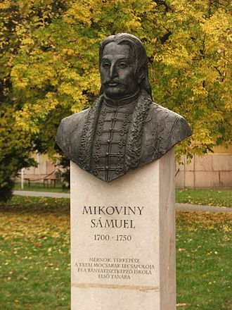 Sámuel Mikoviny - Sámuel Mikoviny sculpture in Tata